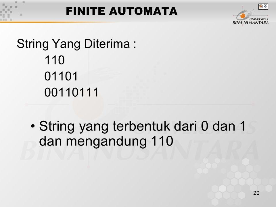 20 FINITE AUTOMATA String Yang Diterima : 110 01101 00110111 String yang terbentuk dari 0 dan 1 dan mengandung 110