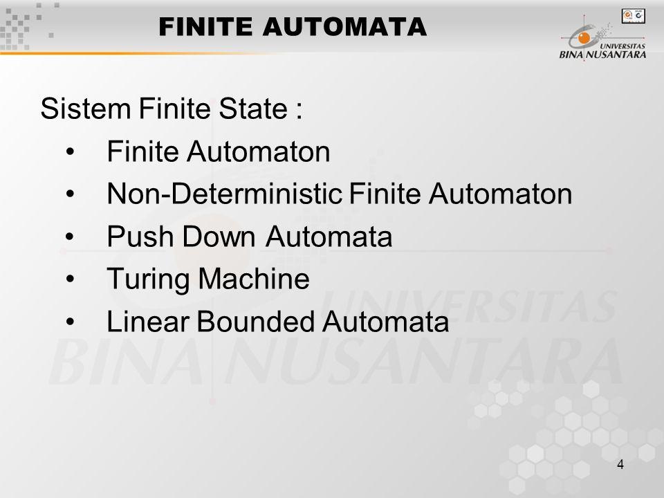 4 FINITE AUTOMATA Sistem Finite State : Finite Automaton Non-Deterministic Finite Automaton Push Down Automata Turing Machine Linear Bounded Automata