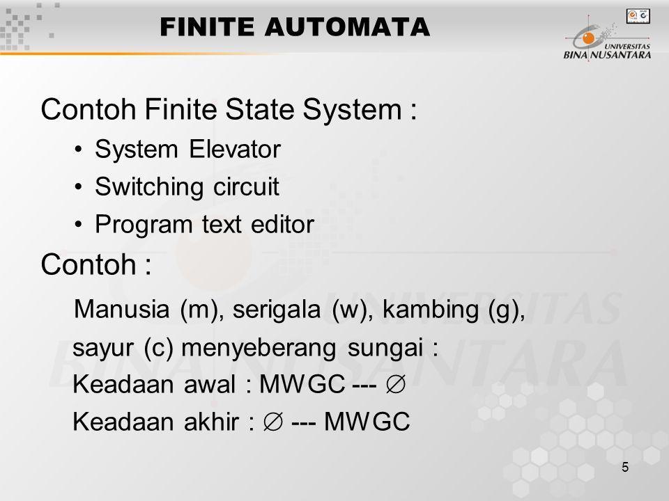 5 FINITE AUTOMATA Contoh Finite State System : System Elevator Switching circuit Program text editor Contoh : Manusia (m), serigala (w), kambing (g), sayur (c) menyeberang sungai : Keadaan awal : MWGC ---  Keadaan akhir :  --- MWGC
