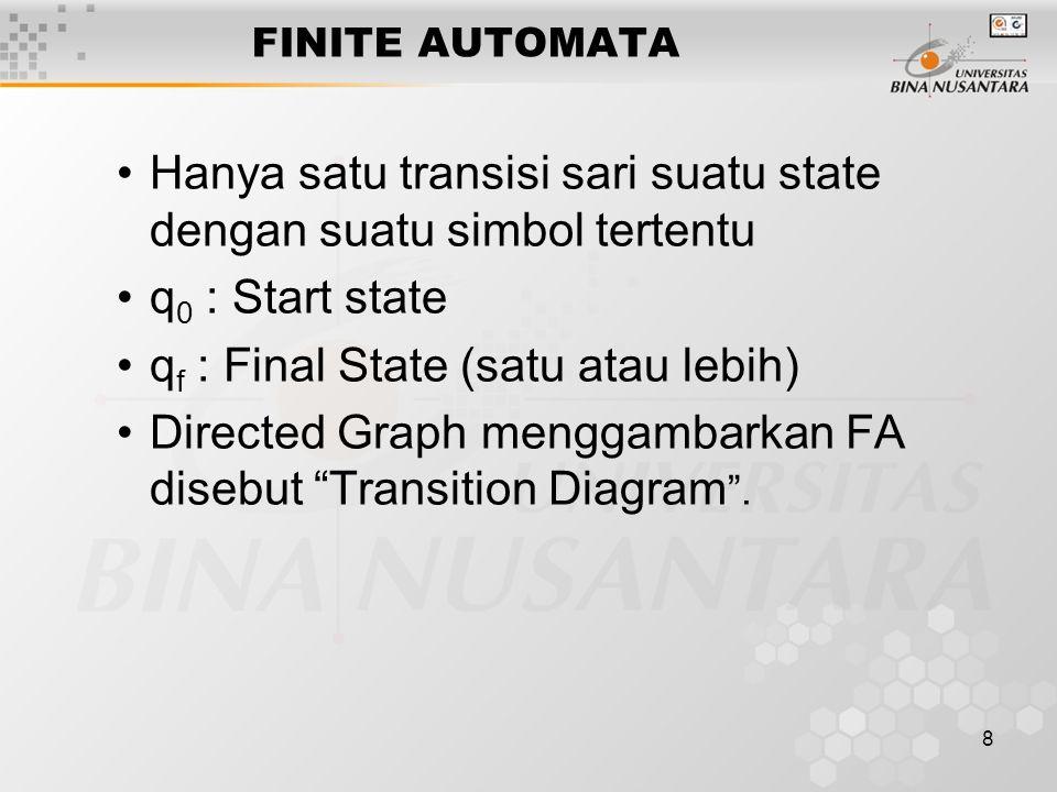 8 FINITE AUTOMATA Hanya satu transisi sari suatu state dengan suatu simbol tertentu q 0 : Start state q f : Final State (satu atau lebih) Directed Graph menggambarkan FA disebut Transition Diagram .