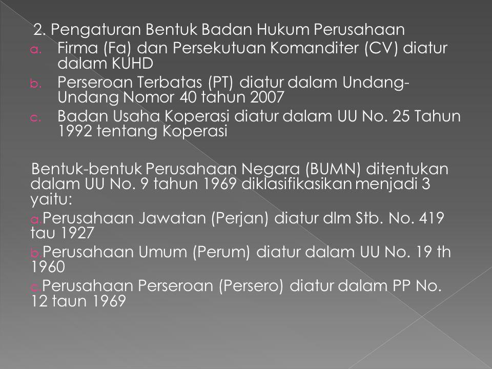 Pada saat ini ketentuan mengenai BUMN tsb diatas sudah diubah dengan Undang-Undang Nomor 19 Tahun 2003, yg Mengklasifikasikan BUMN menjadi 2 (dua) jenis, yaitu : a.