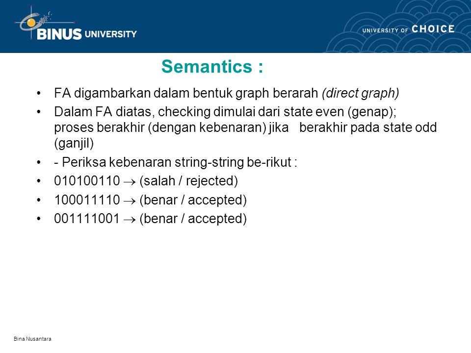 Bina Nusantara Semantics : FA digambarkan dalam bentuk graph berarah (direct graph) Dalam FA diatas, checking dimulai dari state even (genap); proses berakhir (dengan kebenaran) jika berakhir pada state odd (ganjil) - Periksa kebenaran string-string be-rikut : 010100110  (salah / rejected) 100011110  (benar / accepted) 001111001  (benar / accepted)