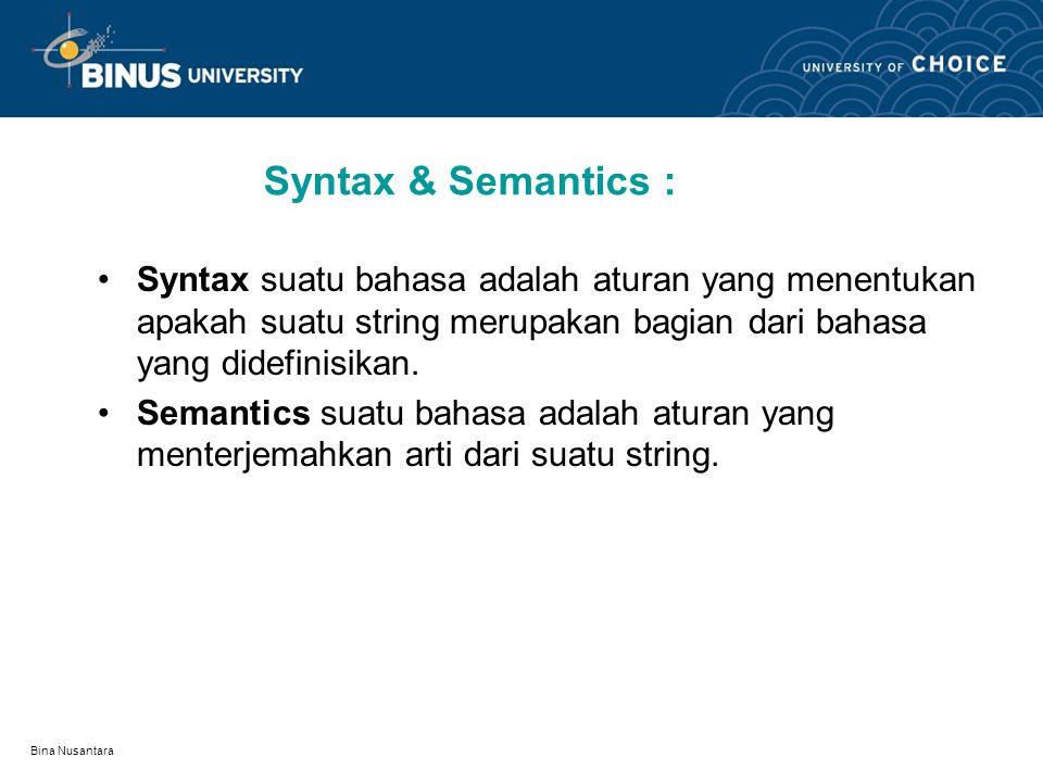 Bina Nusantara Syntax & Semantics : Syntax suatu bahasa adalah aturan yang menentukan apakah suatu string merupakan bagian dari bahasa yang didefinisikan.
