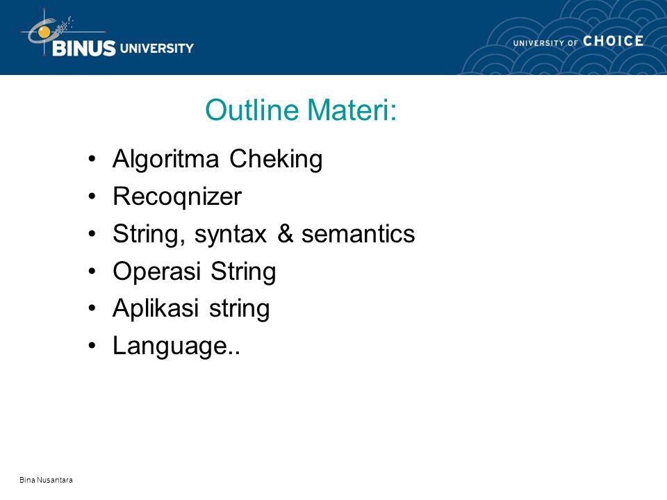 Bina Nusantara Outline Materi: Algoritma Cheking Recoqnizer String, syntax & semantics Operasi String Aplikasi string Language..