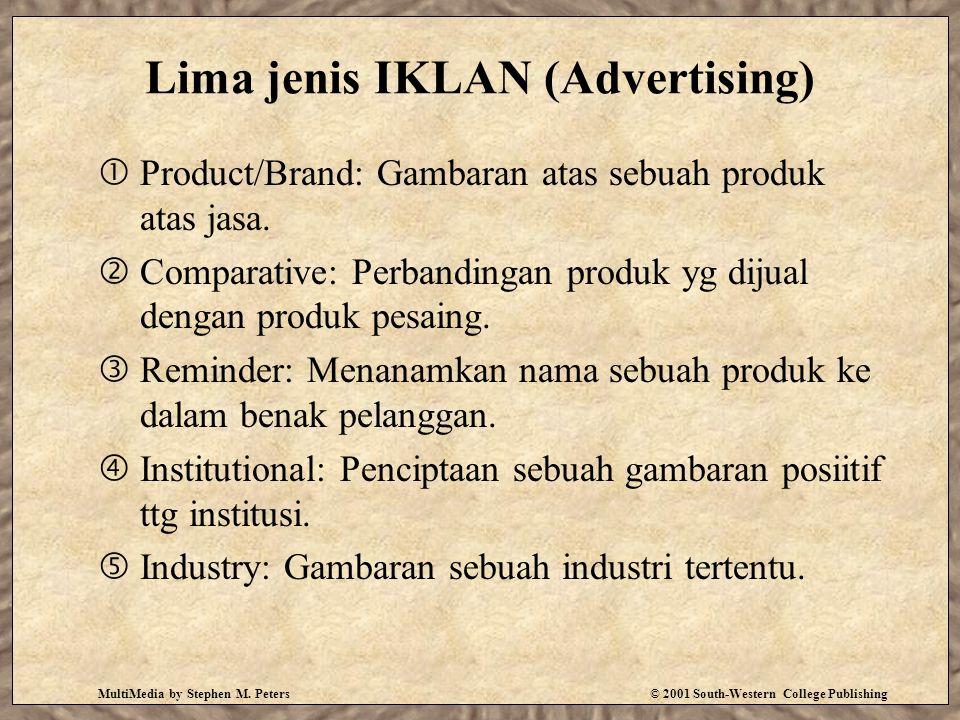 MultiMedia by Stephen M. Peters© 2001 South-Western College Publishing Lima jenis IKLAN (Advertising)  Product/Brand: Gambaran atas sebuah produk ata
