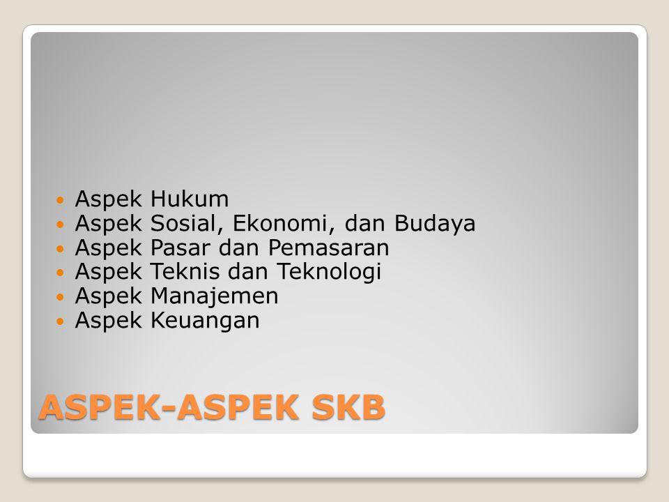 ASPEK-ASPEK SKB Aspek Hukum Aspek Sosial, Ekonomi, dan Budaya Aspek Pasar dan Pemasaran Aspek Teknis dan Teknologi Aspek Manajemen Aspek Keuangan