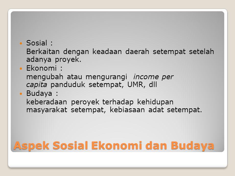 Aspek Sosial Ekonomi dan Budaya Sosial : Berkaitan dengan keadaan daerah setempat setelah adanya proyek. Ekonomi : mengubah atau mengurangi income per