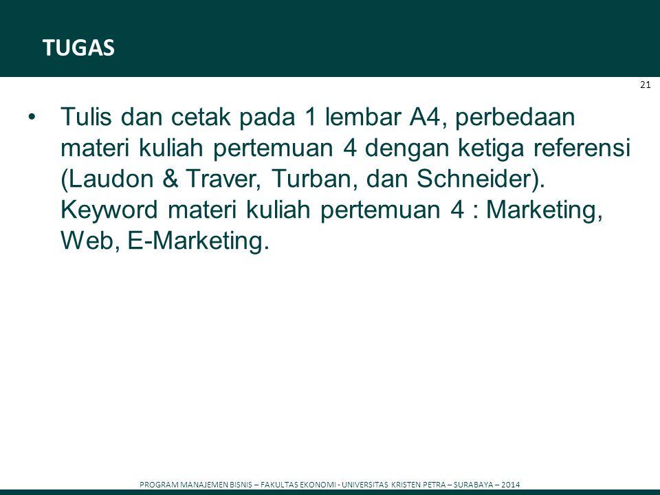 PROGRAM MANAJEMEN BISNIS – FAKULTAS EKONOMI - UNIVERSITAS KRISTEN PETRA – SURABAYA – 2014 21 TUGAS Tulis dan cetak pada 1 lembar A4, perbedaan materi
