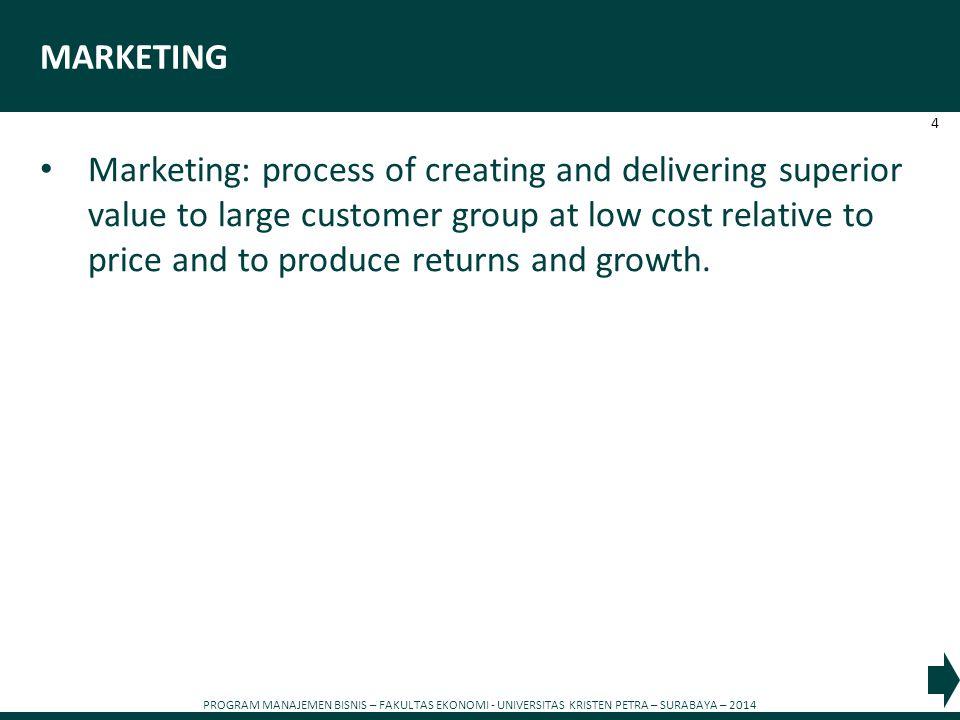 PROGRAM MANAJEMEN BISNIS – FAKULTAS EKONOMI - UNIVERSITAS KRISTEN PETRA – SURABAYA – 2014 4 MARKETING Marketing: process of creating and delivering su
