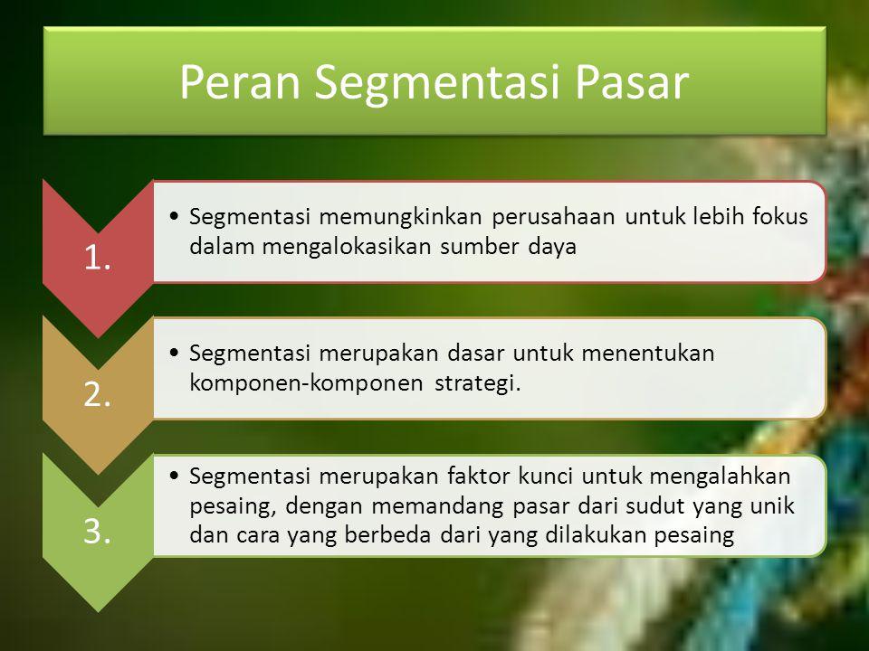 Peran Segmentasi Pasar 1. Segmentasi memungkinkan perusahaan untuk lebih fokus dalam mengalokasikan sumber daya 2. Segmentasi merupakan dasar untuk me
