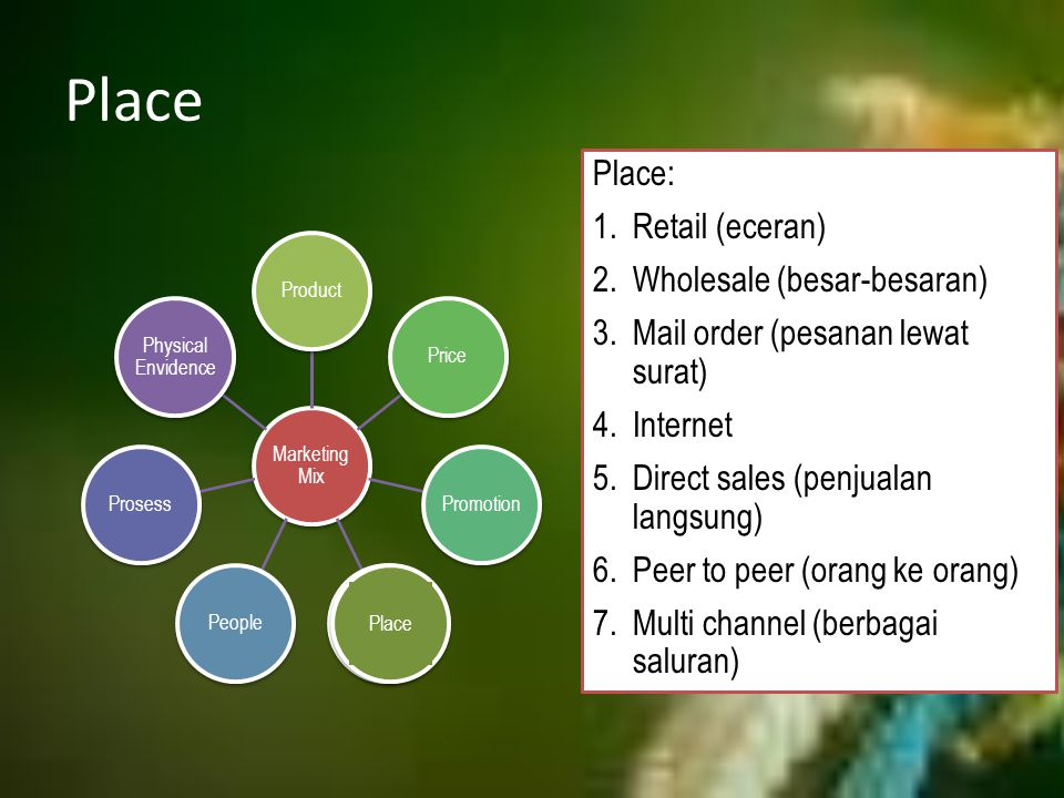 Place Marketing Mix ProductPricePromotionPlacePeopleProsess Physical Envidence Place Place: 1.Retail (eceran) 2.Wholesale (besar-besaran) 3.Mail order
