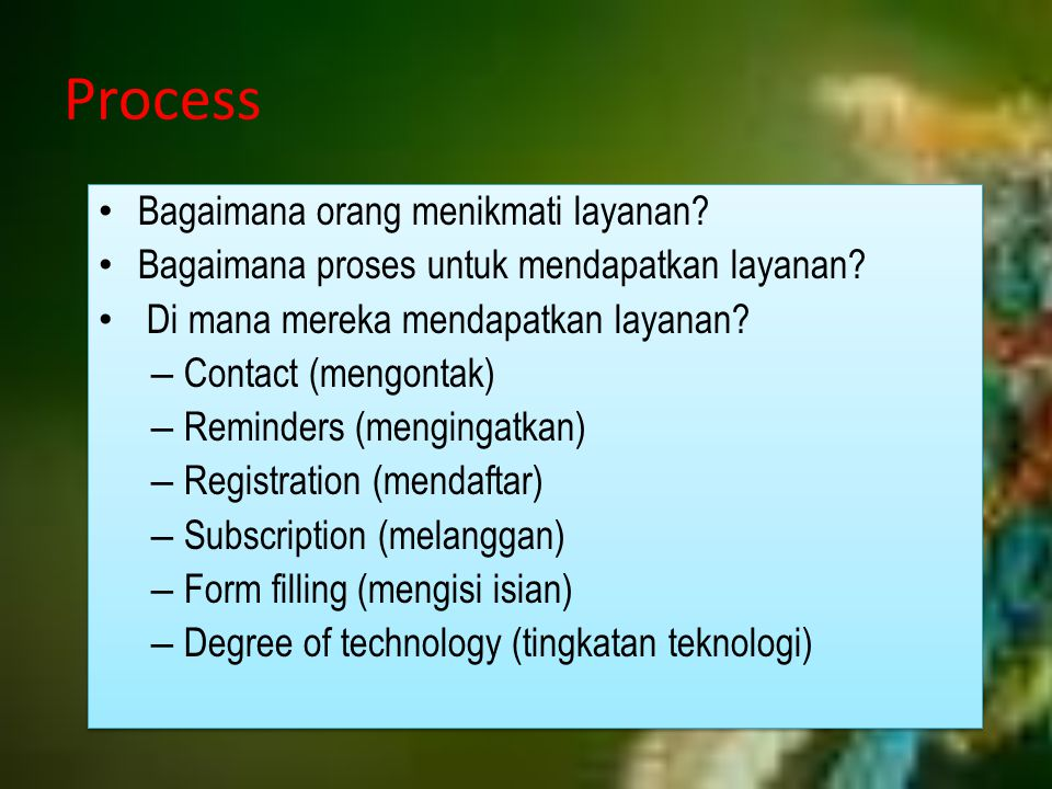 Process Bagaimana orang menikmati layanan? Bagaimana proses untuk mendapatkan layanan? Di mana mereka mendapatkan layanan? – Contact (mengontak) – Rem