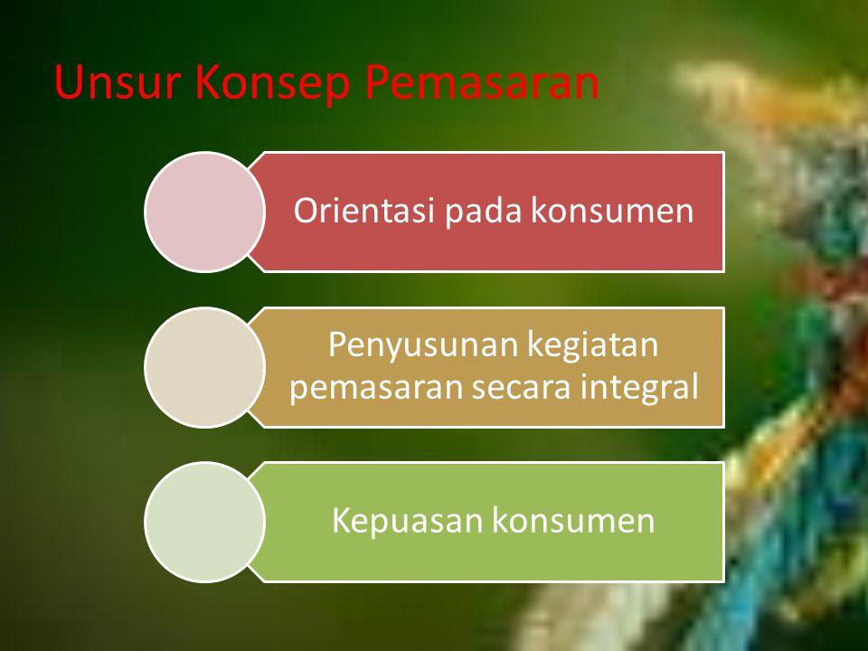 Unsur Konsep Pemasaran Orientasi pada konsumen Penyusunan kegiatan pemasaran secara integral Kepuasan konsumen