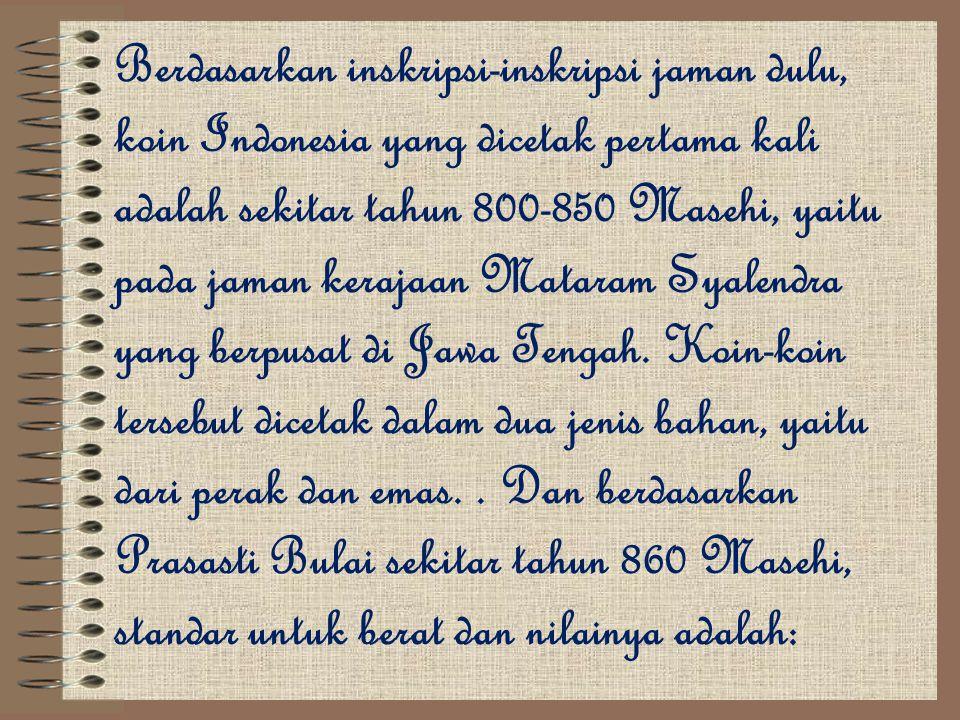 Berdasarkan inskripsi-inskripsi jaman dulu, koin Indonesia yang dicetak pertama kali adalah sekitar tahun 800-850 Masehi, yaitu pada jaman kerajaan Ma