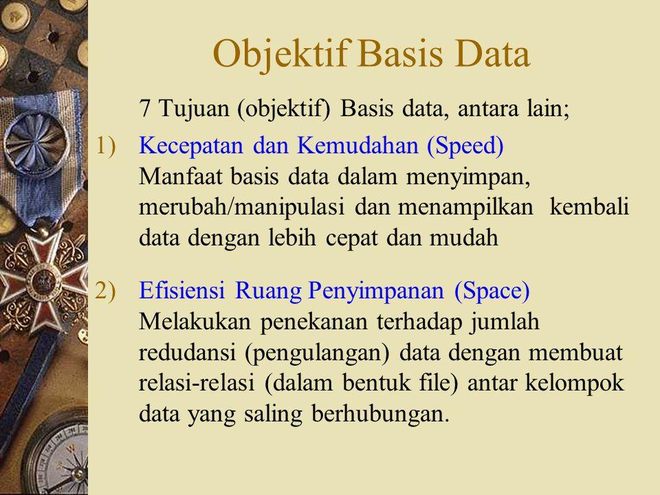 Objektif Basis Data 7 Tujuan (objektif) Basis data, antara lain; 1)Kecepatan dan Kemudahan (Speed) Manfaat basis data dalam menyimpan, merubah/manipulasi dan menampilkan kembali data dengan lebih cepat dan mudah 2)Efisiensi Ruang Penyimpanan (Space) Melakukan penekanan terhadap jumlah redudansi (pengulangan) data dengan membuat relasi-relasi (dalam bentuk file) antar kelompok data yang saling berhubungan.
