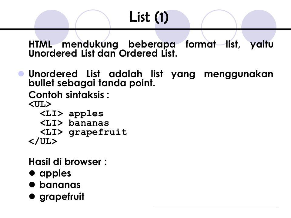HTML mendukung beberapa format list, yaitu Unordered List dan Ordered List.