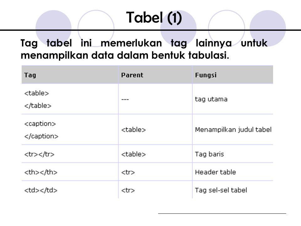 Tabel (1) Tag tabel ini memerlukan tag lainnya untuk menampilkan data dalam bentuk tabulasi.