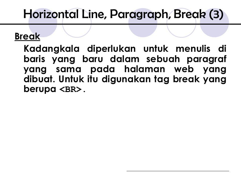 Break Kadangkala diperlukan untuk menulis di baris yang baru dalam sebuah paragraf yang sama pada halaman web yang dibuat.