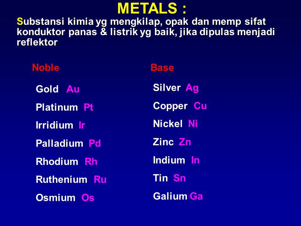 METALS : Substansi kimia yg mengkilap, opak dan memp sifat konduktor panas & listrik yg baik, jika dipulas menjadi reflektor NobleBase Gold Au Platinu