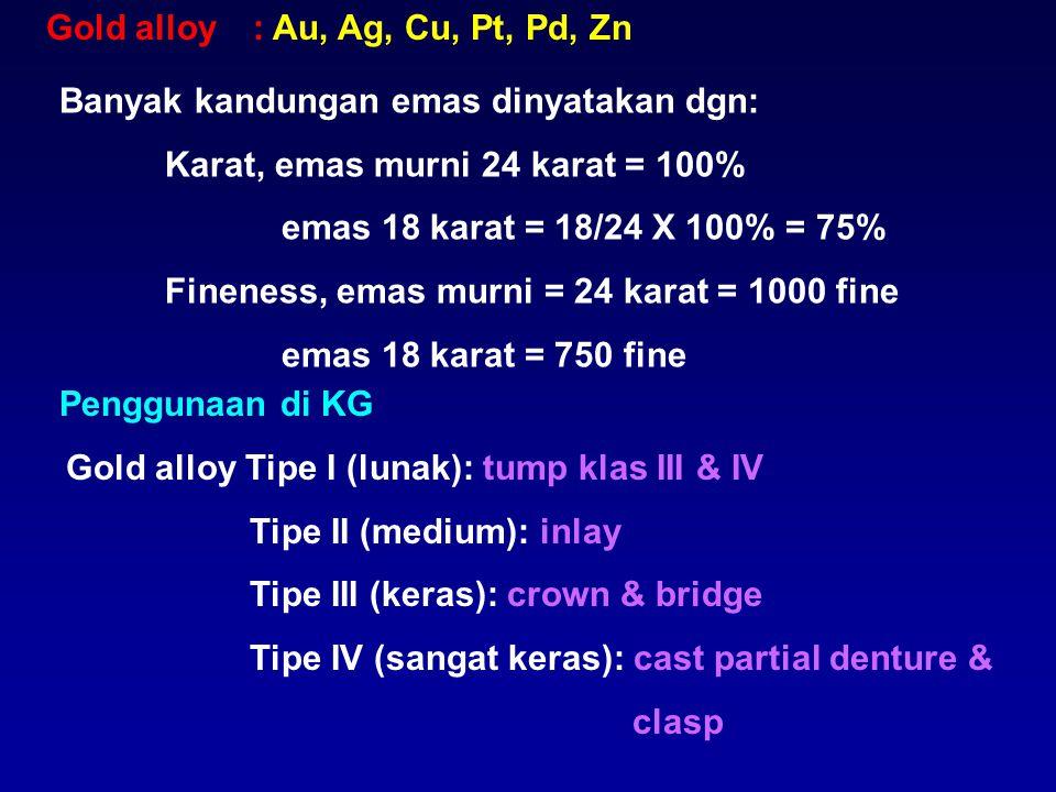 Gold alloy: Au, Ag, Cu, Pt, Pd, Zn Banyak kandungan emas dinyatakan dgn: Karat, emas murni 24 karat = 100% emas 18 karat = 18/24 X 100% = 75% Fineness