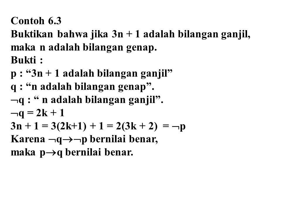 """Contoh 6.3 Buktikan bahwa jika 3n + 1 adalah bilangan ganjil, maka n adalah bilangan genap. Bukti : p : """"3n + 1 adalah bilangan ganjil"""" q : """"n adalah"""
