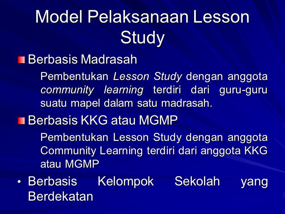 Model Pelaksanaan Lesson Study Berbasis Madrasah Pembentukan Lesson Study dengan anggota community learning terdiri dari guru-guru suatu mapel dalam s