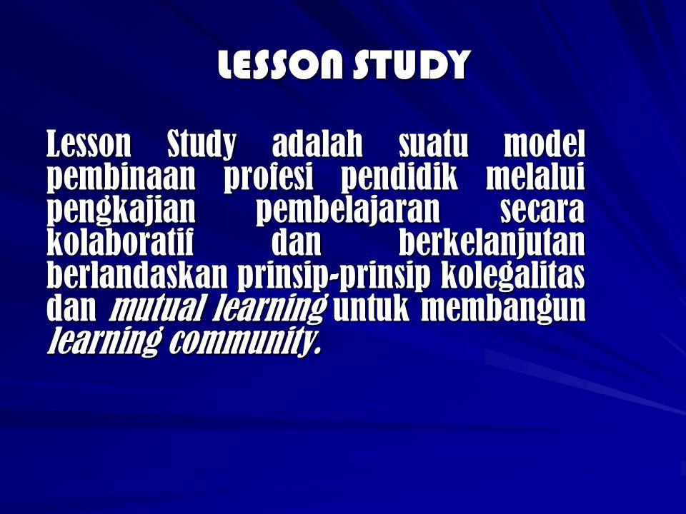 Model Pelaksanaan Lesson Study Berbasis Madrasah Pembentukan Lesson Study dengan anggota community learning terdiri dari guru-guru suatu mapel dalam satu madrasah.