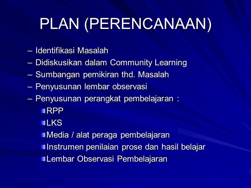 PLAN (PERENCANAAN) –Identifikasi Masalah –Didiskusikan dalam Community Learning –Sumbangan pemikiran thd. Masalah –Penyusunan lembar observasi –Penyus