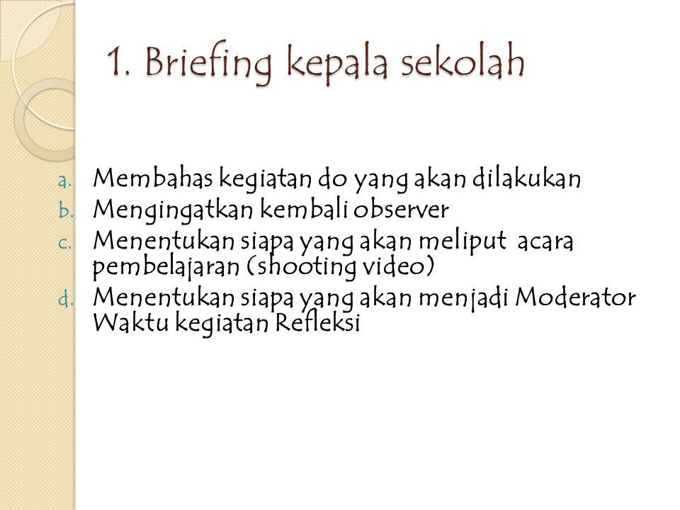 TAHAPAN DO 1.Briefing dengan Kepala sekolah 2. Penjelasan dari guru model 3.