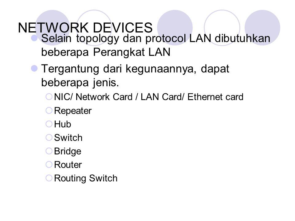 NETWORK DEVICES Selain topology dan protocol LAN dibutuhkan beberapa Perangkat LAN Tergantung dari kegunaannya, dapat beberapa jenis.  NIC/ Network C