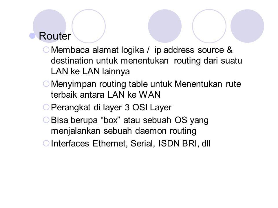 Router  Membaca alamat logika / ip address source & destination untuk menentukan routing dari suatu LAN ke LAN lainnya  Menyimpan routing table untu