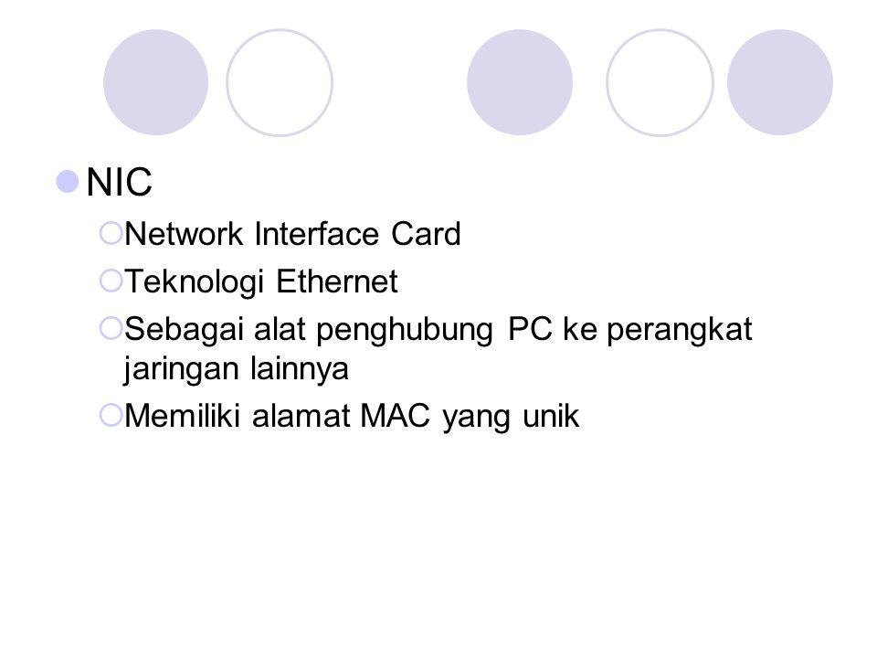 NIC  Network Interface Card  Teknologi Ethernet  Sebagai alat penghubung PC ke perangkat jaringan lainnya  Memiliki alamat MAC yang unik