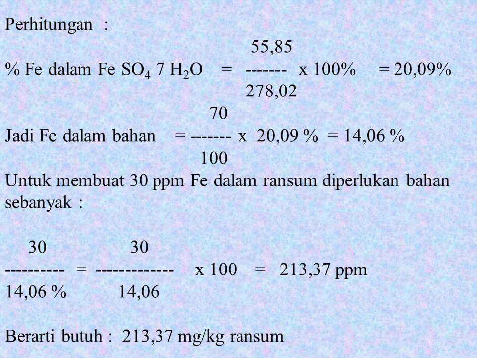 Perhitungan : 55,85 % Fe dalam Fe SO 4 7 H 2 O = ------- x 100% = 20,09% 278,02 70 Jadi Fe dalam bahan = ------- x 20,09 % = 14,06 % 100 Untuk membuat