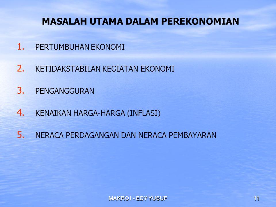 MAKRO I - EDY YUSUF11 MASALAH UTAMA DALAM PEREKONOMIAN 1.