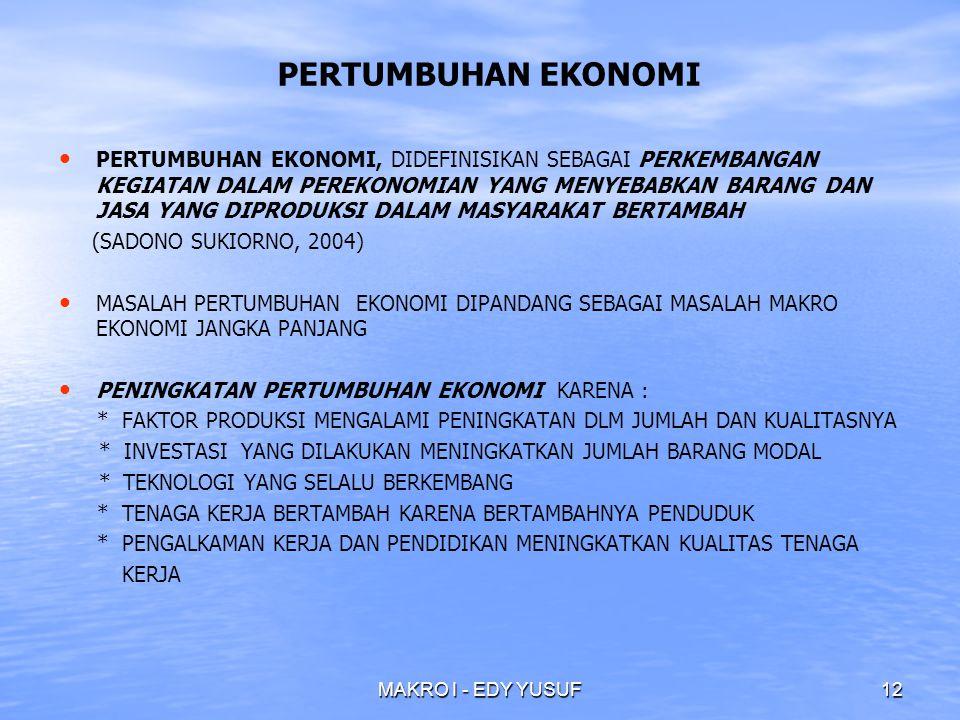 MAKRO I - EDY YUSUF12 PERTUMBUHAN EKONOMI PERTUMBUHAN EKONOMI, DIDEFINISIKAN SEBAGAI PERKEMBANGAN KEGIATAN DALAM PEREKONOMIAN YANG MENYEBABKAN BARANG DAN JASA YANG DIPRODUKSI DALAM MASYARAKAT BERTAMBAH (SADONO SUKIORNO, 2004) MASALAH PERTUMBUHAN EKONOMI DIPANDANG SEBAGAI MASALAH MAKRO EKONOMI JANGKA PANJANG PENINGKATAN PERTUMBUHAN EKONOMI KARENA : * FAKTOR PRODUKSI MENGALAMI PENINGKATAN DLM JUMLAH DAN KUALITASNYA * INVESTASI YANG DILAKUKAN MENINGKATKAN JUMLAH BARANG MODAL * TEKNOLOGI YANG SELALU BERKEMBANG * TENAGA KERJA BERTAMBAH KARENA BERTAMBAHNYA PENDUDUK * PENGALKAMAN KERJA DAN PENDIDIKAN MENINGKATKAN KUALITAS TENAGA KERJA