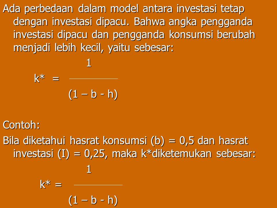 Ada perbedaan dalam model antara investasi tetap dengan investasi dipacu. Bahwa angka pengganda investasi dipacu dan pengganda konsumsi berubah menjad