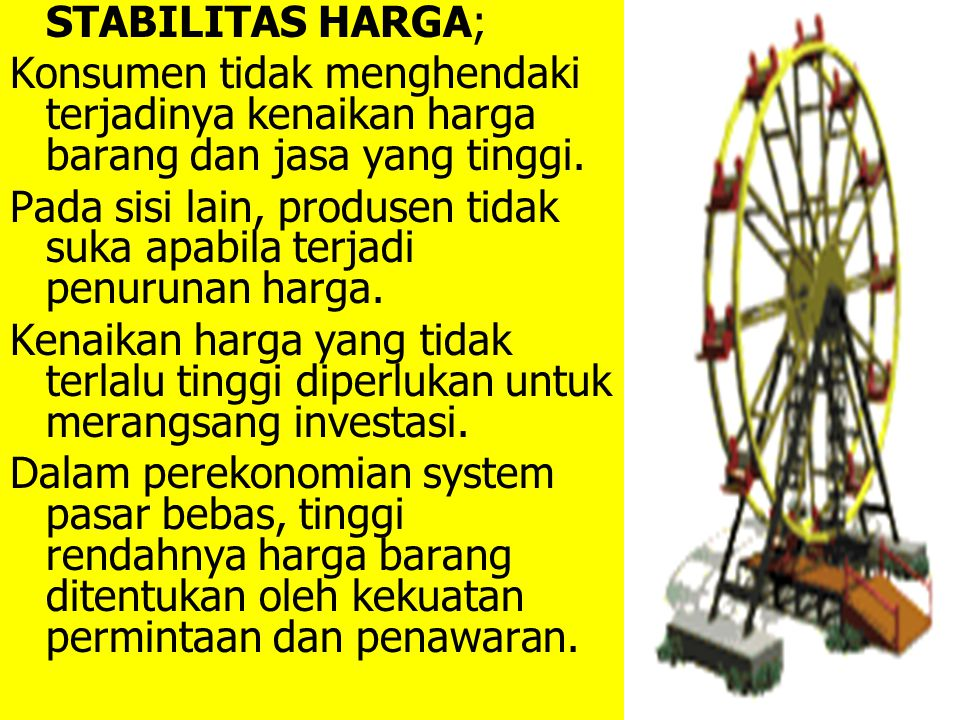 STABILITAS HARGA; Konsumen tidak menghendaki terjadinya kenaikan harga barang dan jasa yang tinggi. Pada sisi lain, produsen tidak suka apabila terjad
