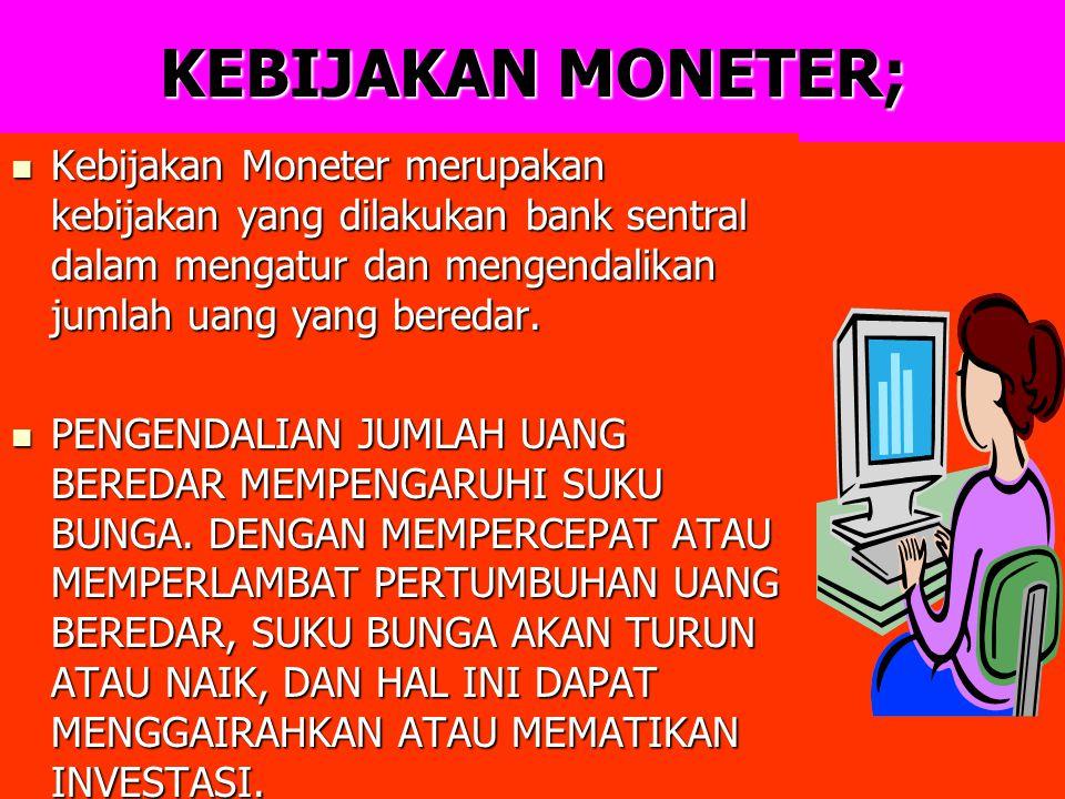 KEBIJAKAN MONETER; Kebijakan Moneter merupakan kebijakan yang dilakukan bank sentral dalam mengatur dan mengendalikan jumlah uang yang beredar. Kebija