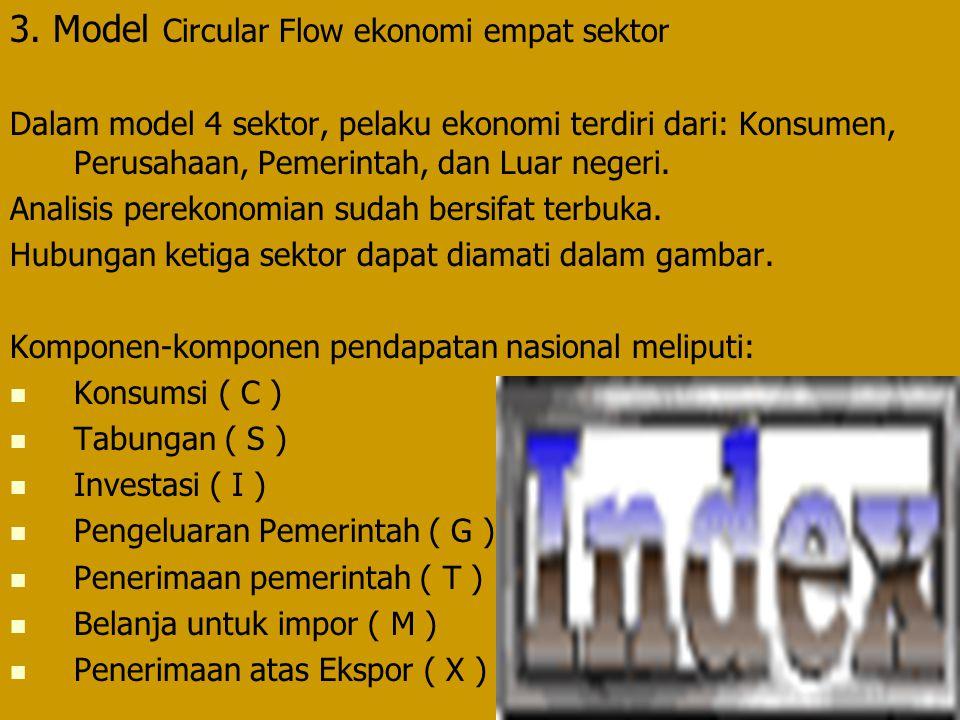 3. Model Circular Flow ekonomi empat sektor Dalam model 4 sektor, pelaku ekonomi terdiri dari: Konsumen, Perusahaan, Pemerintah, dan Luar negeri. Anal