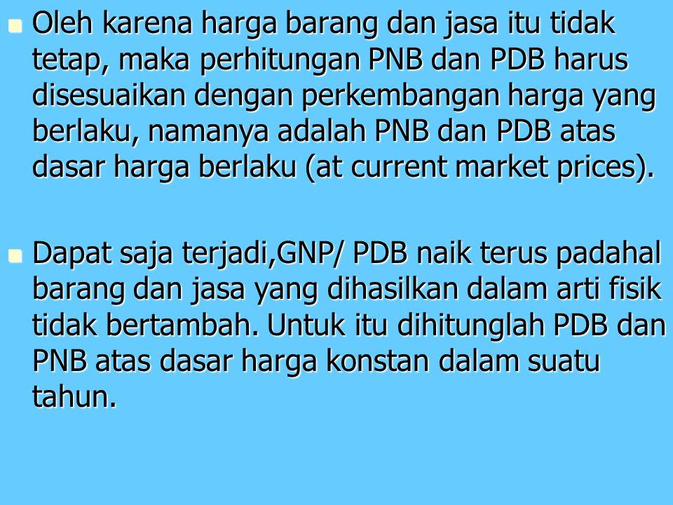 Oleh karena harga barang dan jasa itu tidak tetap, maka perhitungan PNB dan PDB harus disesuaikan dengan perkembangan harga yang berlaku, namanya adalah PNB dan PDB atas dasar harga berlaku (at current market prices).