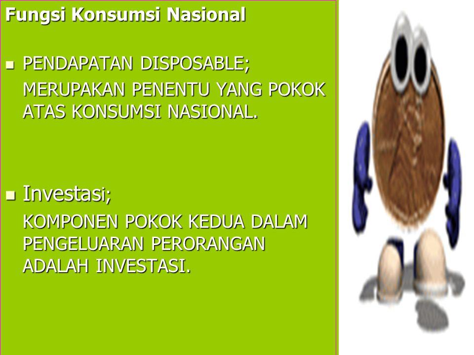 Fungsi Konsumsi Nasional PENDAPATAN DISPOSABLE; MERUPAKAN PENENTU YANG POKOK ATAS KONSUMSI NASIONAL.