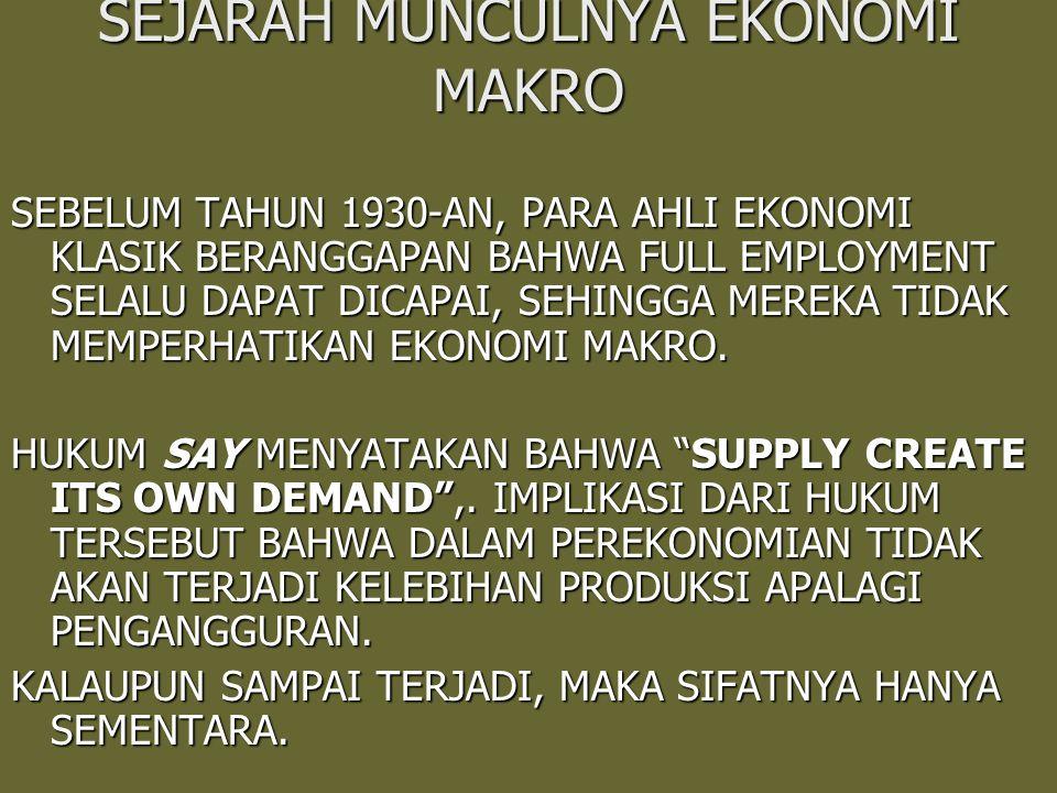 Akan tetapi pada tahun tigapuluhan harga-harga turun dan terjadi kelebihan produksi sehingga terjadi pengangguran yang tidak segera hilang dengan sendirinya.