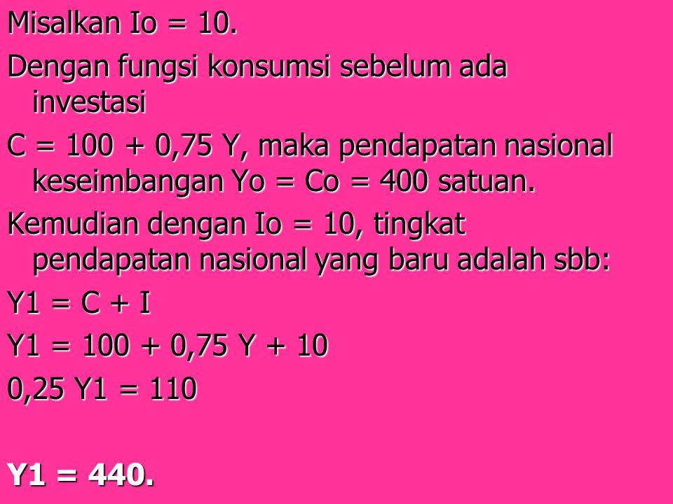 Misalkan Io = 10. Dengan fungsi konsumsi sebelum ada investasi C = 100 + 0,75 Y, maka pendapatan nasional keseimbangan Yo = Co = 400 satuan. Kemudian