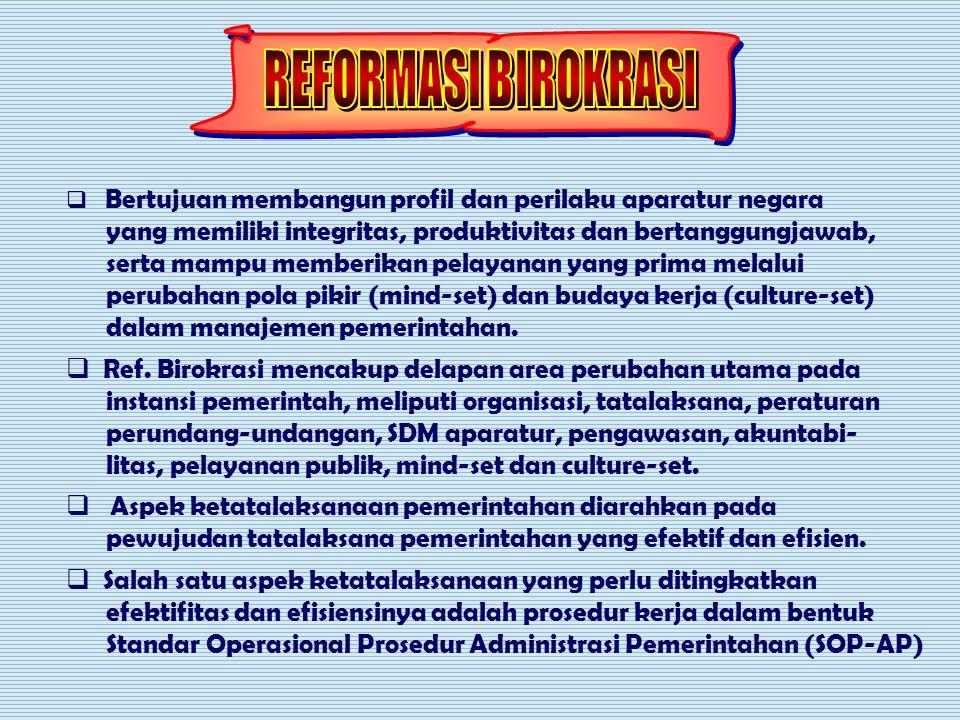 Penataan Urusan Penataan kelembagaan Penataan ketatalaksanaan Penataan SDM C:yulian3\reformaasi kelembagaan.ppt PELAYANAN PUBLIK REFORMASI BIROKRASI DAERAH Perubahan Lingkungan Strategik Perubahan Lingkungan Strategik PERGESERAN PARADIGMA PEMERINTAHAN PERGESERAN PARADIGMA PEMERINTAHAN OTDAOTDA birokrasi efektif, efisisen & ekonomis birokrasi efektif, efisisen & ekonomis