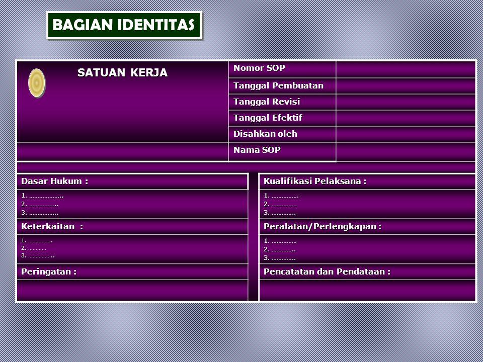 Setiap SOP harus dilengkapi dengan informasi identitas sbb. : a.Nama SOP : nama prosedur yang disandarkan ; b.Satuan Kerja/Unit Kerja : satuan kerja/u