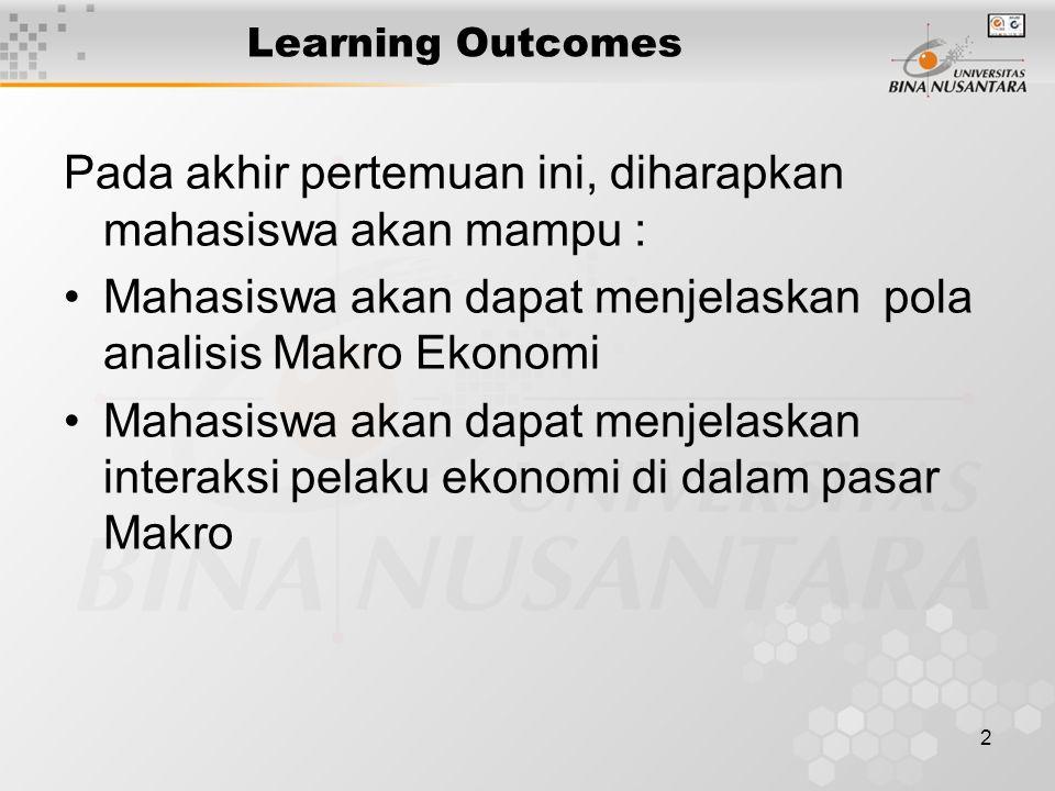 2 Learning Outcomes Pada akhir pertemuan ini, diharapkan mahasiswa akan mampu : Mahasiswa akan dapat menjelaskan pola analisis Makro Ekonomi Mahasiswa