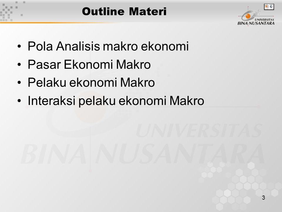 4 Pola Analisis makro ekonomi  Kerangka analisa makro Mengkaji masalah-masalah ekonomi makro Ada dua aspek utama :  Apa dan dimana kegiatan tersebut dilaksanakan  Siapa pelakunya