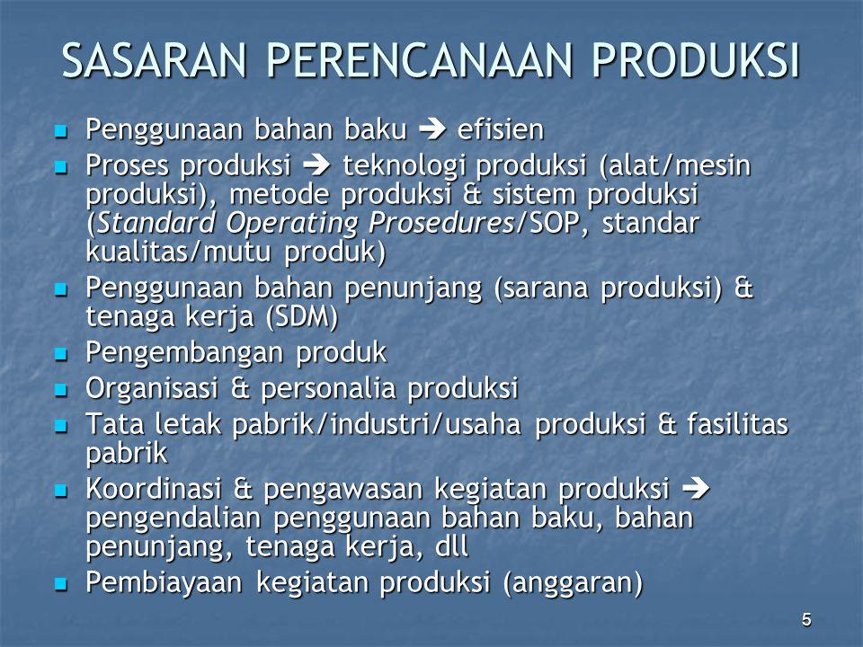 5 SASARAN PERENCANAAN PRODUKSI Penggunaan bahan baku  efisien Penggunaan bahan baku  efisien Proses produksi  teknologi produksi (alat/mesin produk