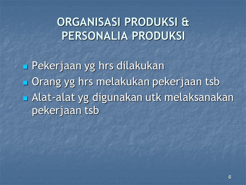 6 ORGANISASI PRODUKSI & PERSONALIA PRODUKSI Pekerjaan yg hrs dilakukan Pekerjaan yg hrs dilakukan Orang yg hrs melakukan pekerjaan tsb Orang yg hrs me
