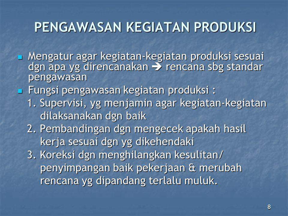 8 PENGAWASAN KEGIATAN PRODUKSI Mengatur agar kegiatan-kegiatan produksi sesuai dgn apa yg direncanakan  rencana sbg standar pengawasan Mengatur agar